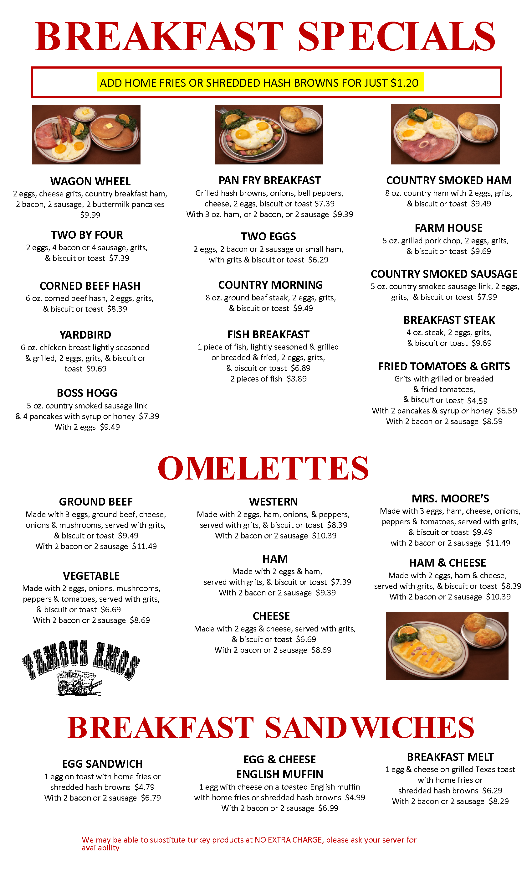 Famous Amos Menu - Breakfast Specials (Page 2)